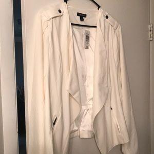 White crepe drape front jacket